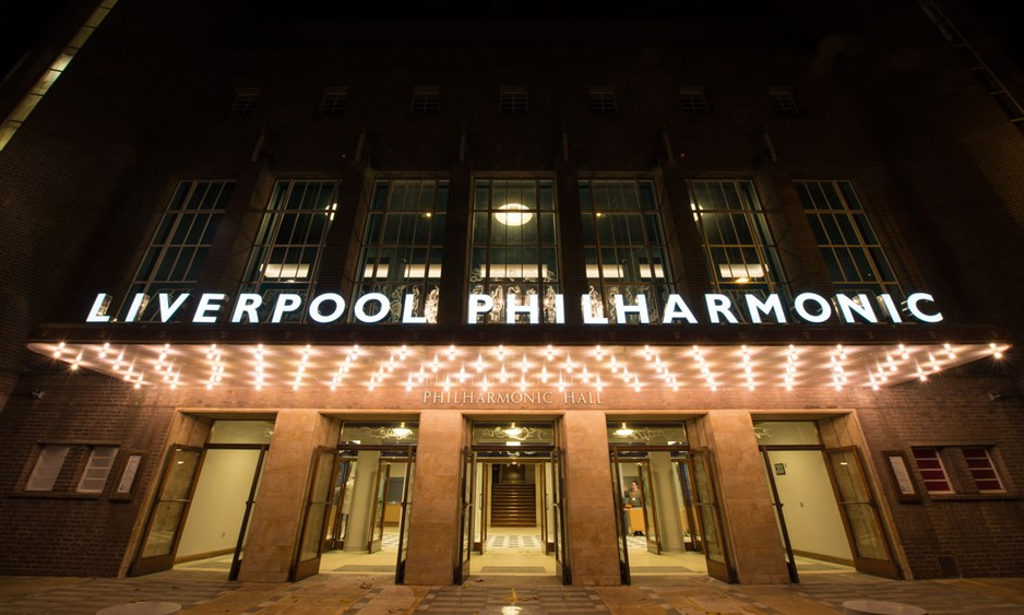 outside of liverpool philharmonic hall at night wide angle